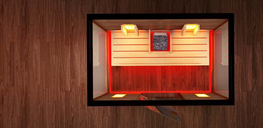 kombinierte sauna f r 2 personen. Black Bedroom Furniture Sets. Home Design Ideas