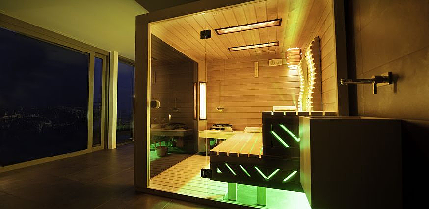 individuelle glas sauna. Black Bedroom Furniture Sets. Home Design Ideas