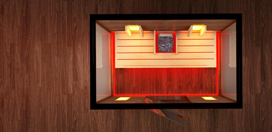 finnische sauna mit infrarotkabine. Black Bedroom Furniture Sets. Home Design Ideas